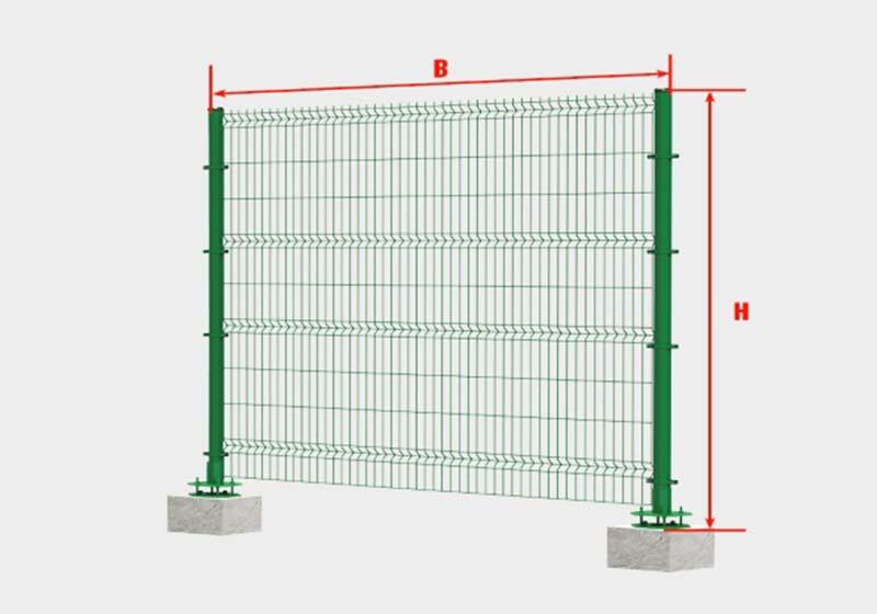 Расстояние между стойками должно быть одинаковым. Оно складывается из нескольких величин: ширина секции сетки и ширина опоры
